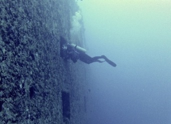 Author Micki Browning enters the USS Spiegel Grove, a purpose-sunk artificial reef in Key Largo, FL